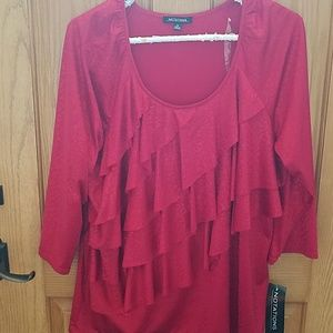 New with tags red layered top xl cute